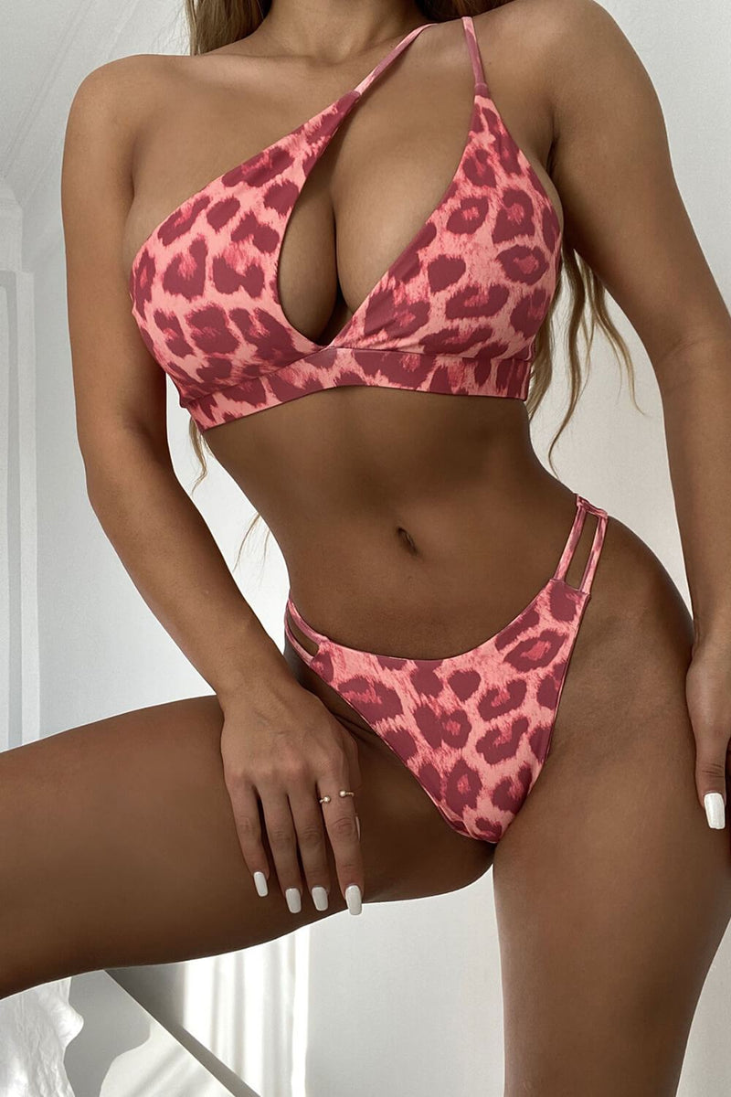Pink Leopard Asymmetrical Cut Out One Shoulder Bikini Top