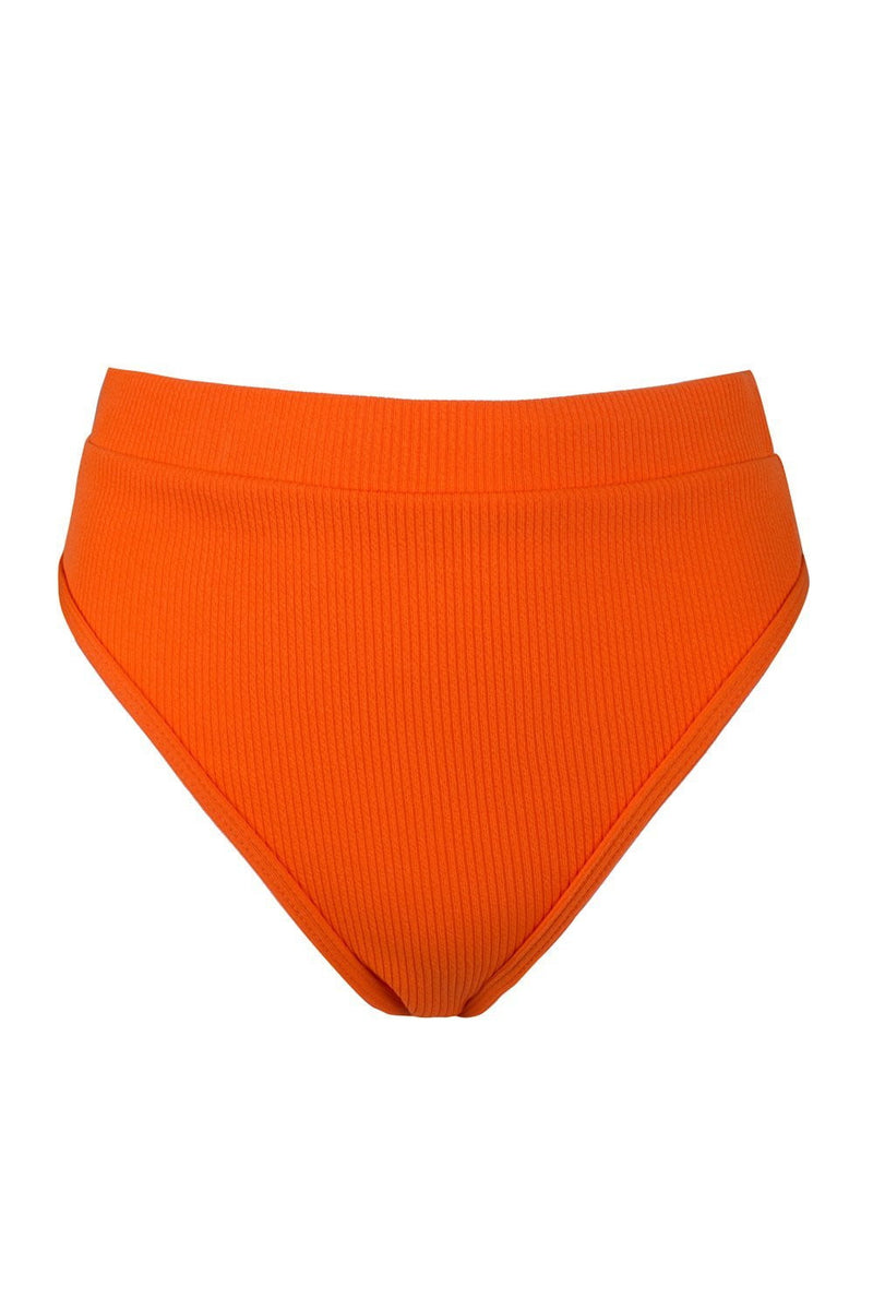 Orange Red Ribbed High Waist Bikini Bottoms