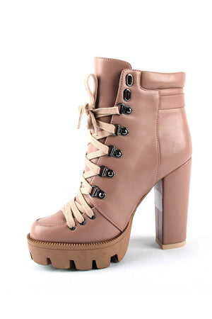 Nude Lace-Up Heeled Chunky Biker Ankle Boots With Buckle Detail (4307981991995)