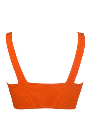 Orange Ribbed Front V Wire Bikini Top (2117254905915)