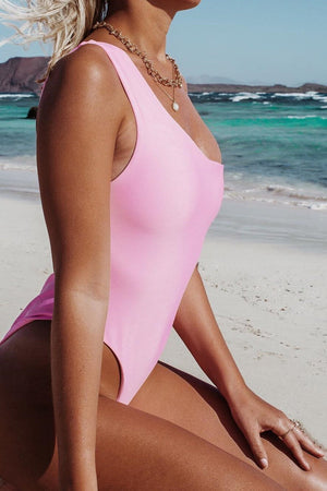 Pink One Shoulder Belted One Piece Swimsuit (2186498146363)