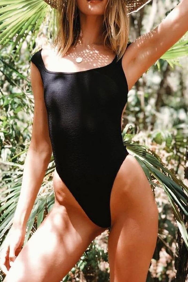 Black Ribbed Ballerina Neck One Piece Swimsuit