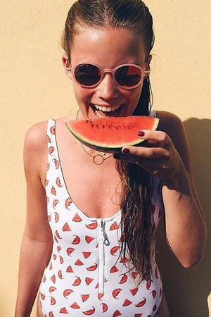 Watermelon Print Zipper Up One Piece Swimsuit (2265517326395)