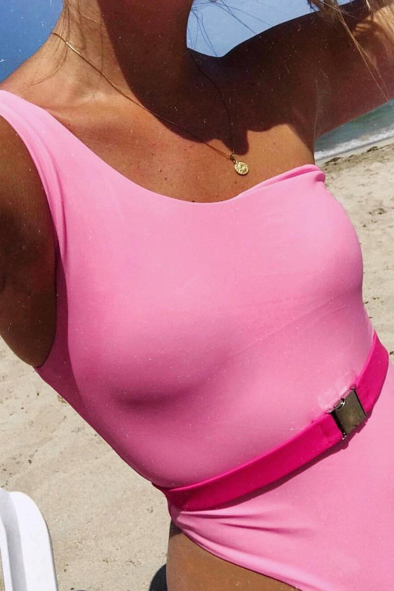 Pink One Shoulder Belted One Piece Swimsuit