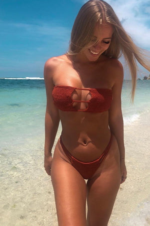 Burgundy Smocked Caged Bikini Bottom