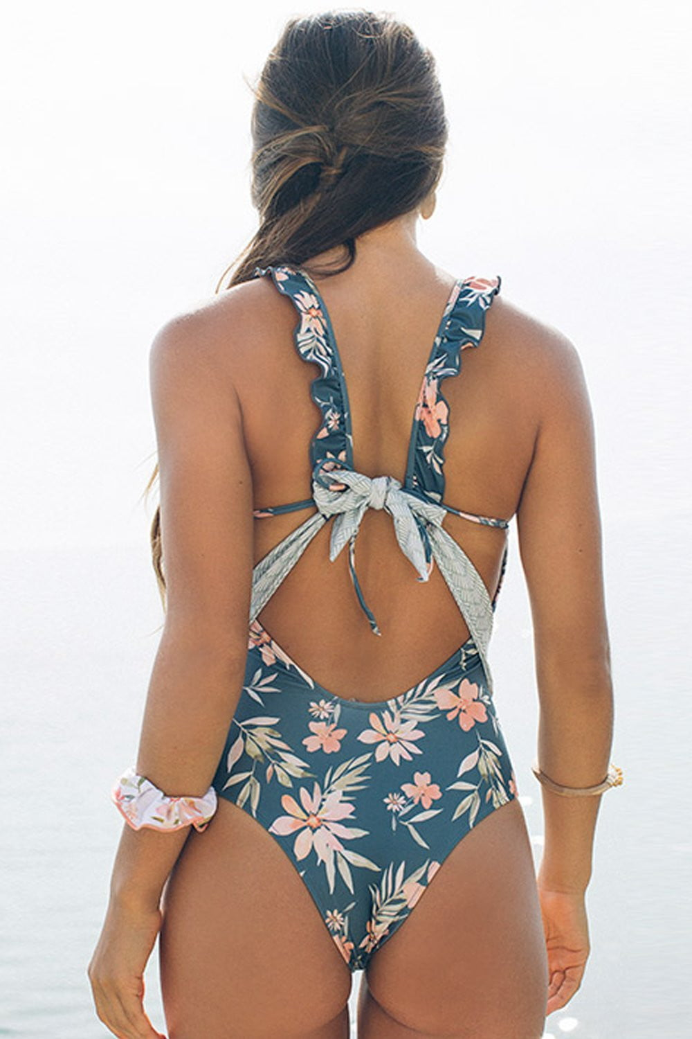 Tropical Floral High Neck One Piece Swimsuit