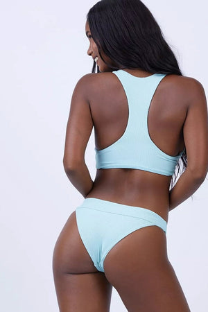 Light Blue Ribbed Front Keyhole Knot Tie Bikini Top (2249591029819)