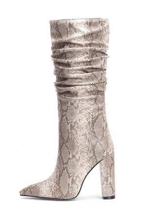 Beige Snakeskin Ruched Knee High Boots (4307980746811)
