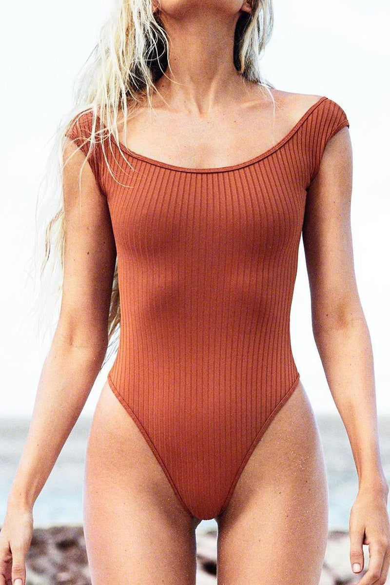 Brown Ribbed Ballerina Neck One Piece Swimsuit (2250942578747)