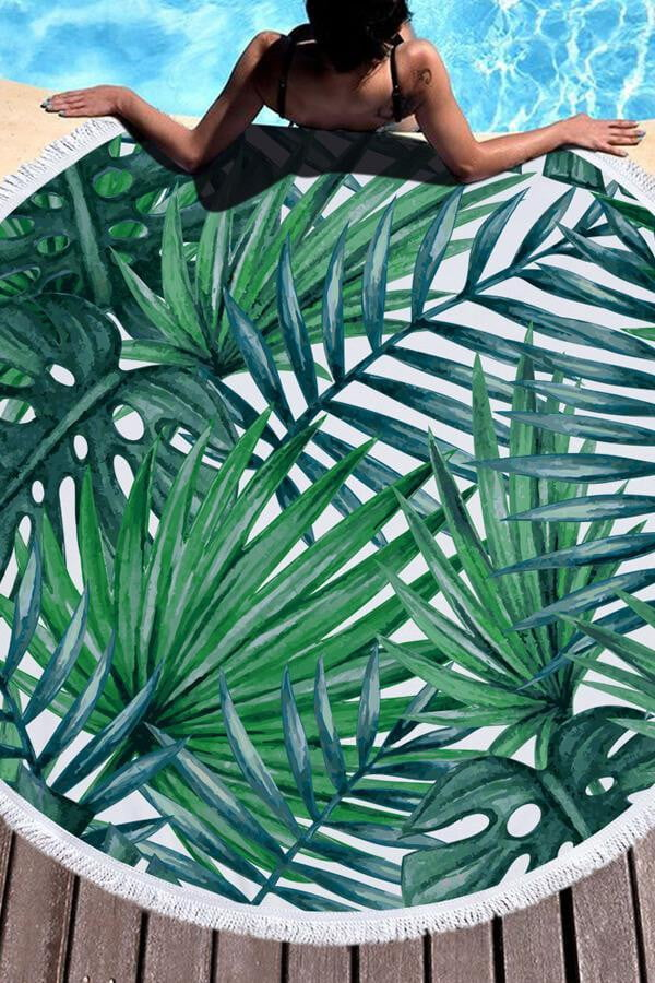 Green Leaves Print Round Beach Blanket (1565874552891)