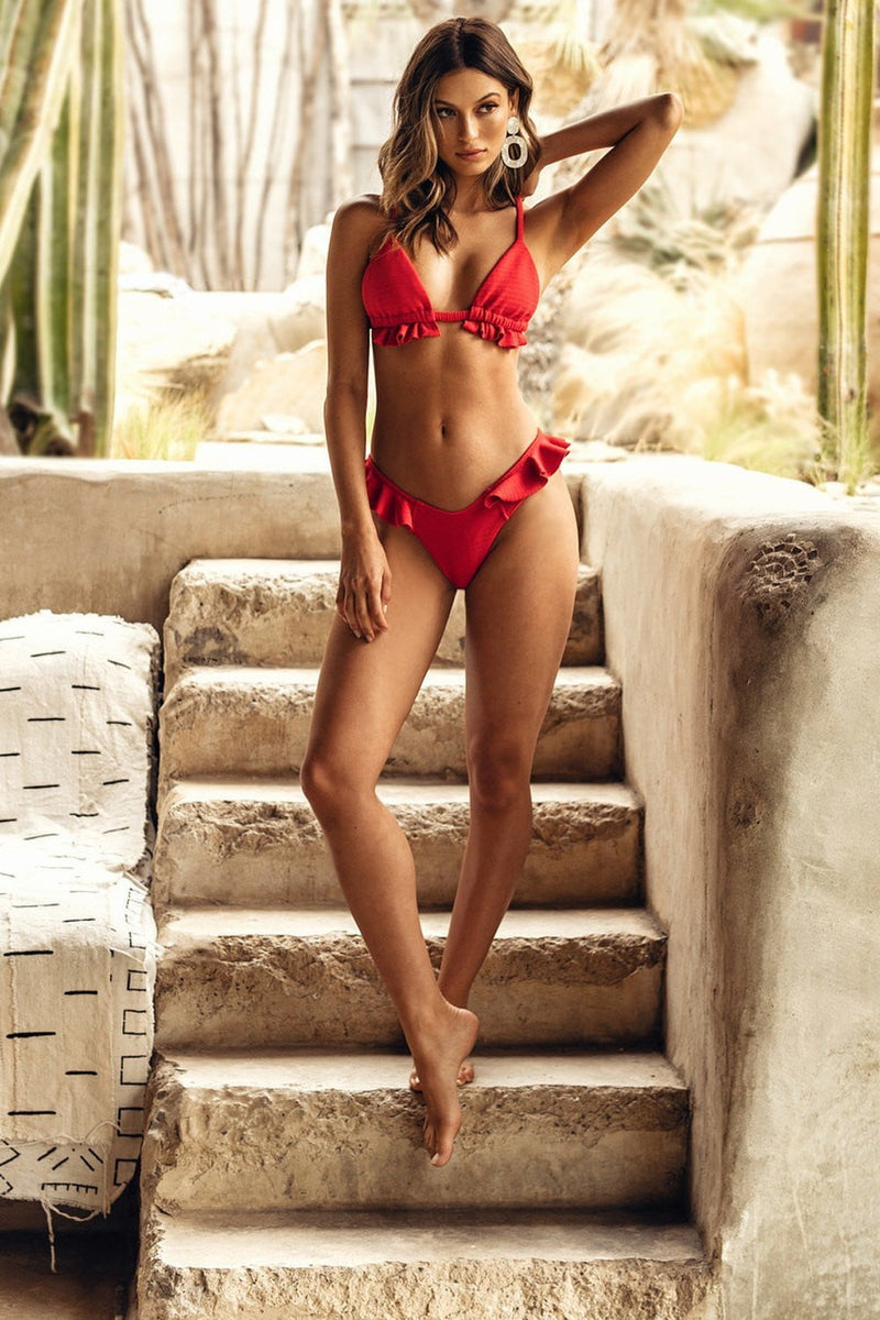 Red Ribbed Ruffle Trim Bikini Top