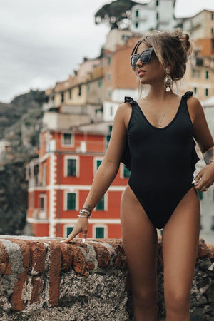 Black Back Ruffle Trim One Piece Swimsuit