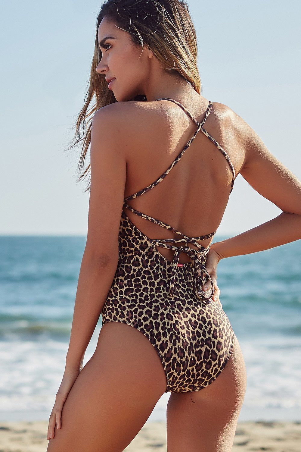 Leopard Lace Up Back One Piece Swimsuit