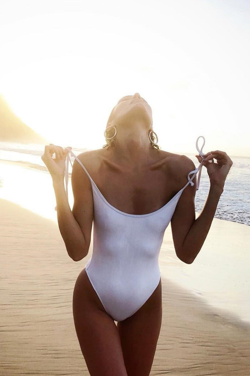 White Ribbed Tie Shoulder One Piece Swimsuit