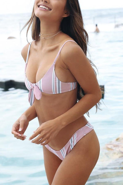 Floralkini Pink Vertical Striped High Leg Bikini Bottom
