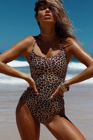 Leopard Lace Up Back One Piece Swimsuit (2186498113595)