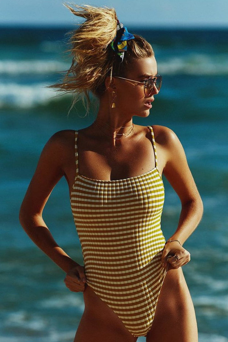 Yellow Striped Ribbed High Leg One Piece Swimsuit
