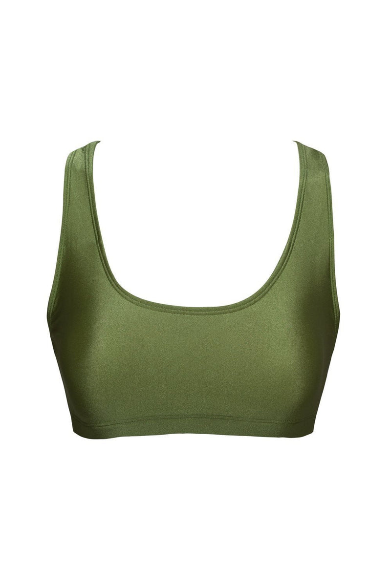 Dark Olive Green Crop Bikini Top (2178786132027)