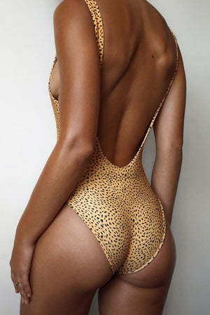 Yellow Leopard Ribbed One Piece Swimsuit