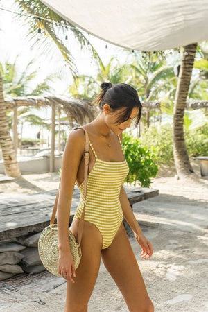 Yellow Striped Ribbed High Leg One Piece Swimsuit (2302558535739)