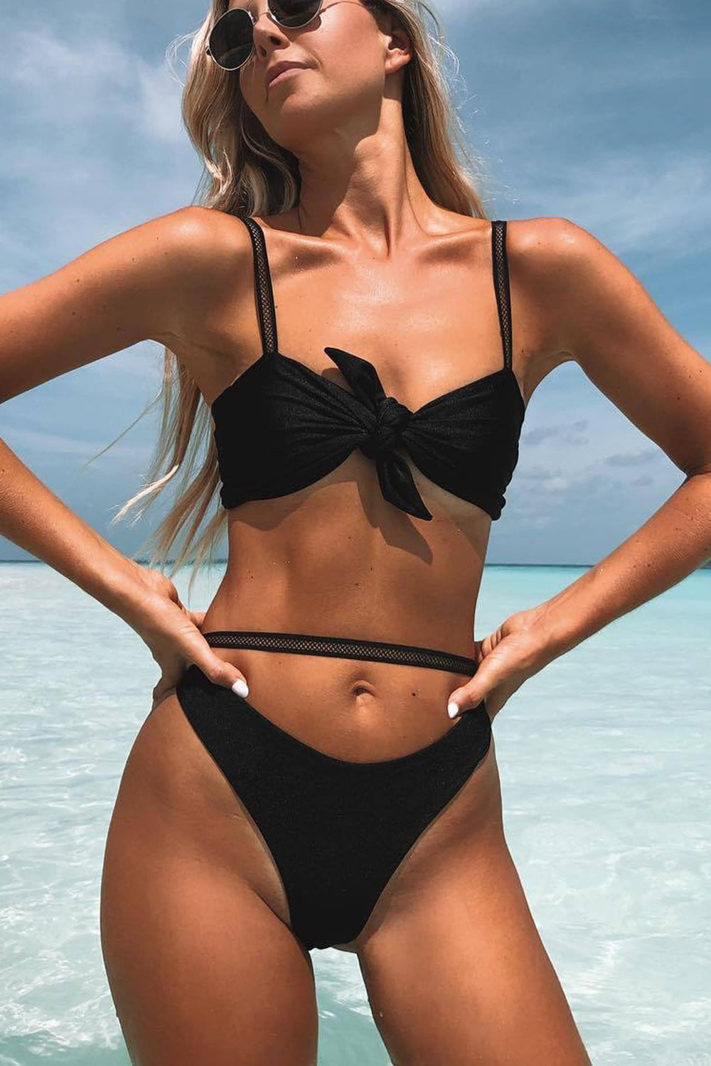Black Tie Up Bow Mesh Straps Bikini Top