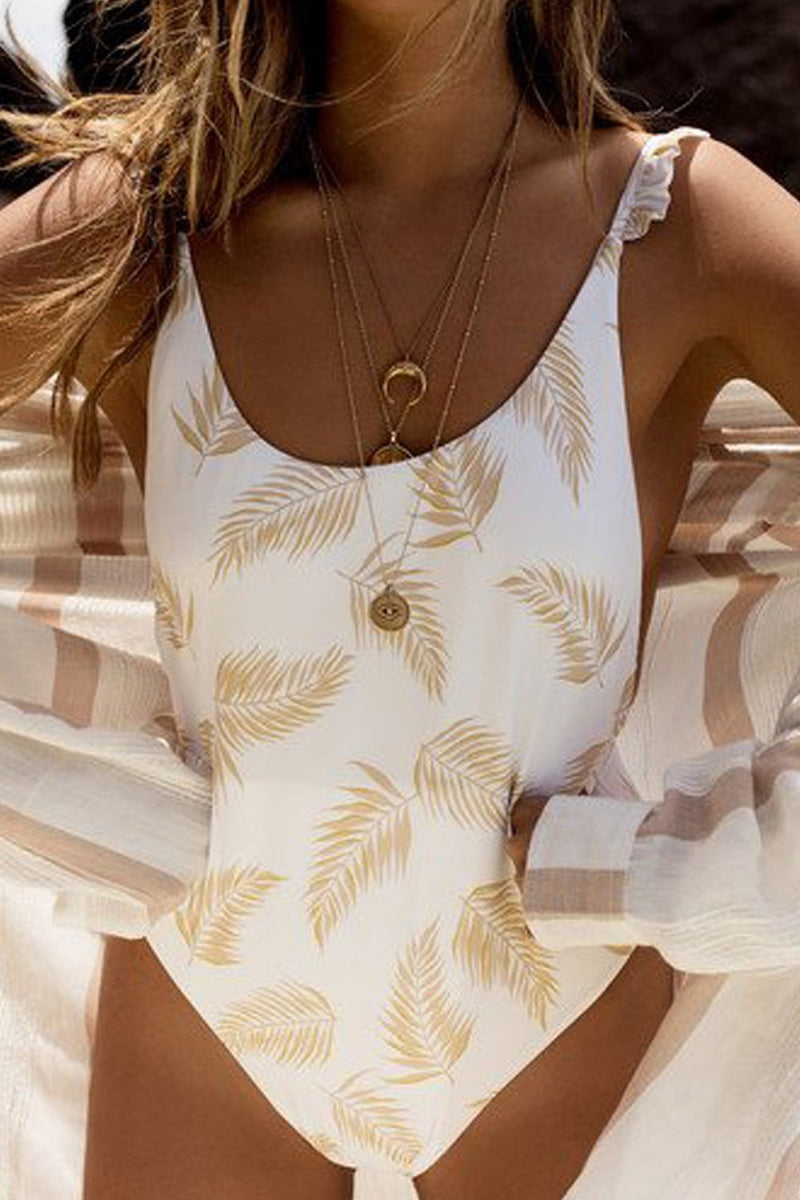 Palm Leaves Print Ruffle Trim Straps One Piece Swimsuit