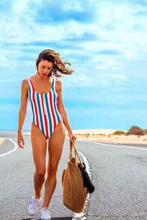 Red Blue Striped Zipper Up One Piece Swimsuit