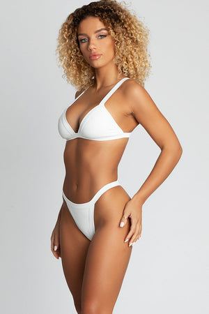 White Ribbed Triangle Bikini Top (2248808366139)