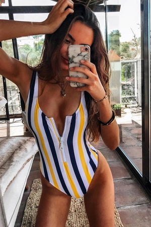 Yellow Black Striped Zipper Up One Piece Swimsuit