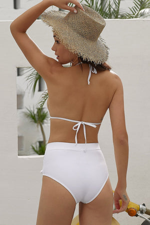 White Pom Pom Mesh High Waisted Bikini Bottom (2277769412667)