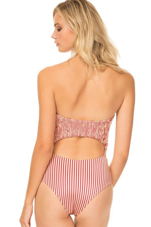 Red Striped Tie Front Cut-Out One Piece Swimsuit (2301637525563)