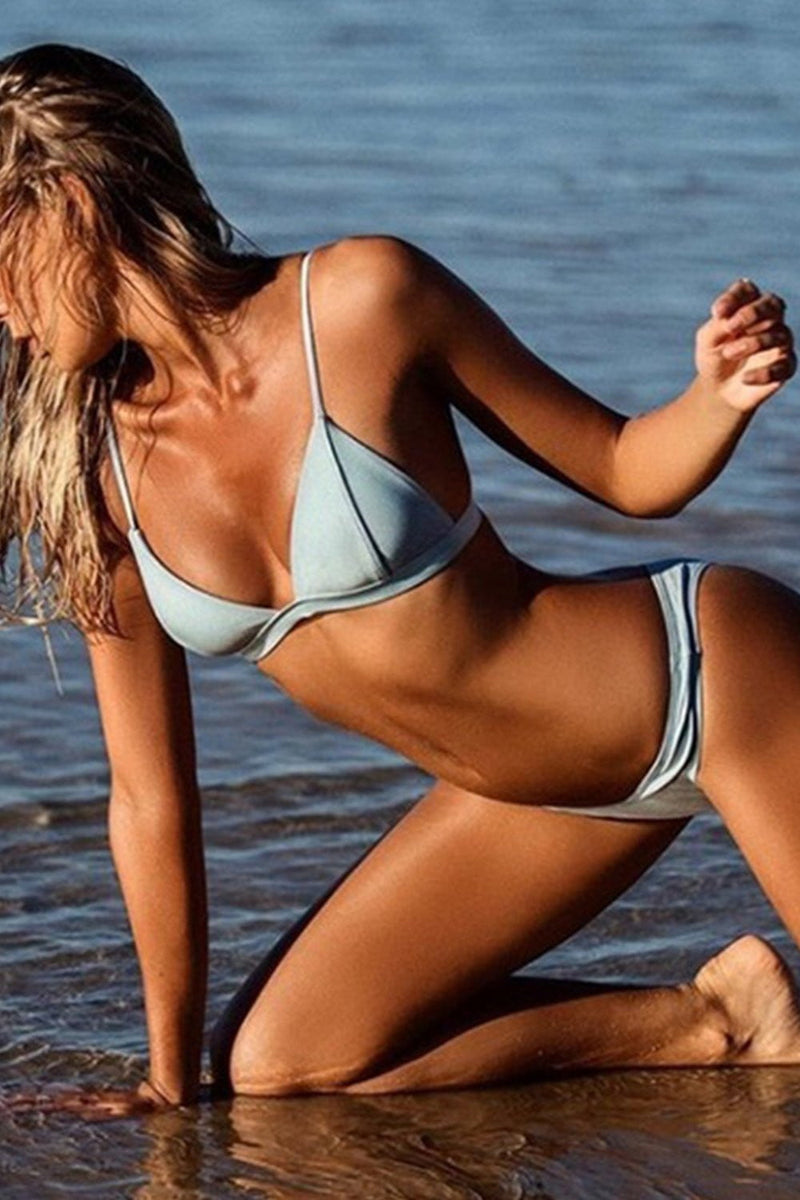 Light Blue Metallic Triangle Bikini Top