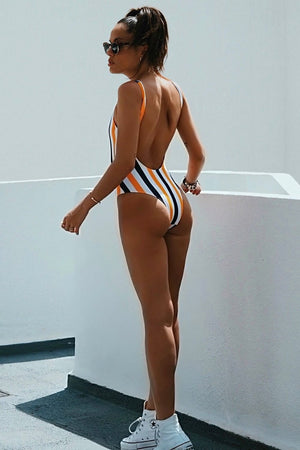 Yellow Black Striped Zipper Up One Piece Swimsuit (2261120712763)