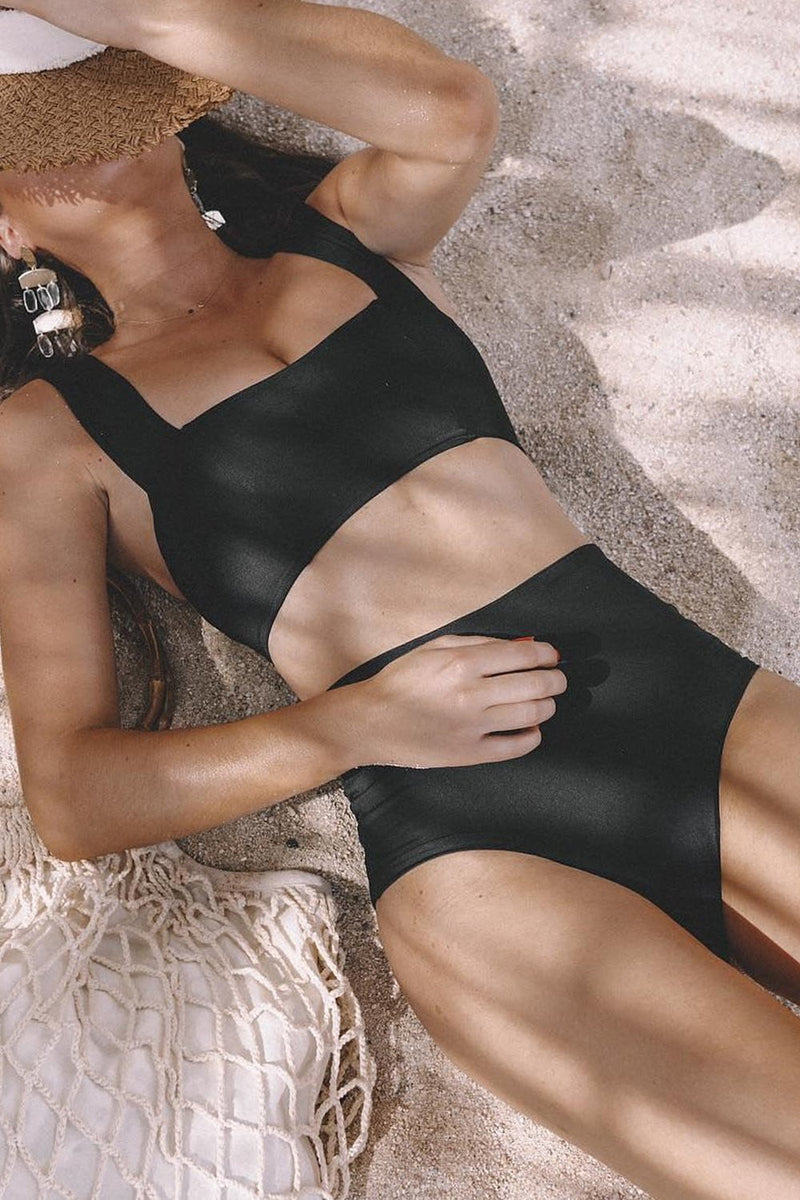 Black Square Neck Wide Shoulder Bikini Top (2249590439995)