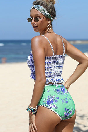 Blue Floral Print High Waisted Bikini Bottom