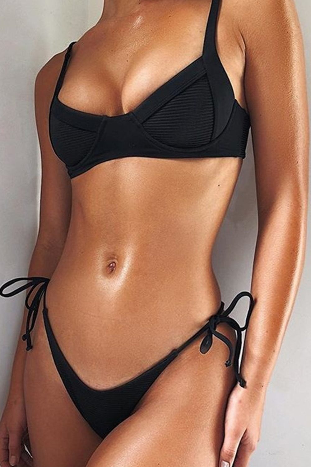 Black Ribbed Tie Side Bikini Bottom (2183039713339)