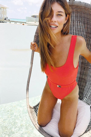 Red Belted High Cut One Piece Swimsuit