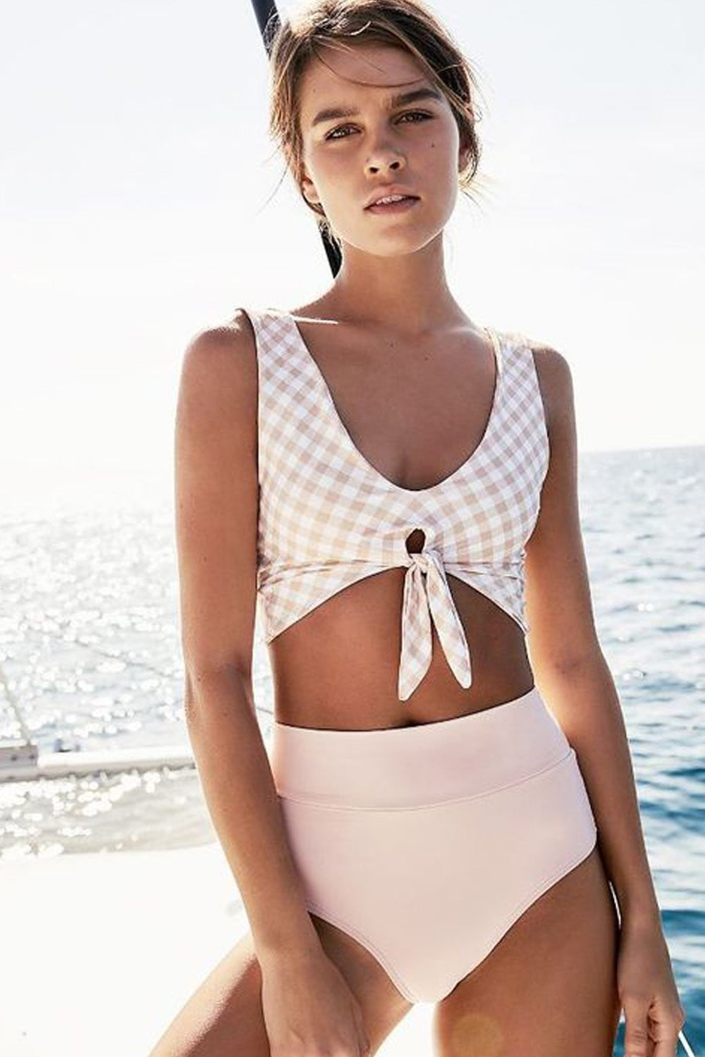 Pink Gingham Tie Front Cropped Bikini Top (2248808202299)