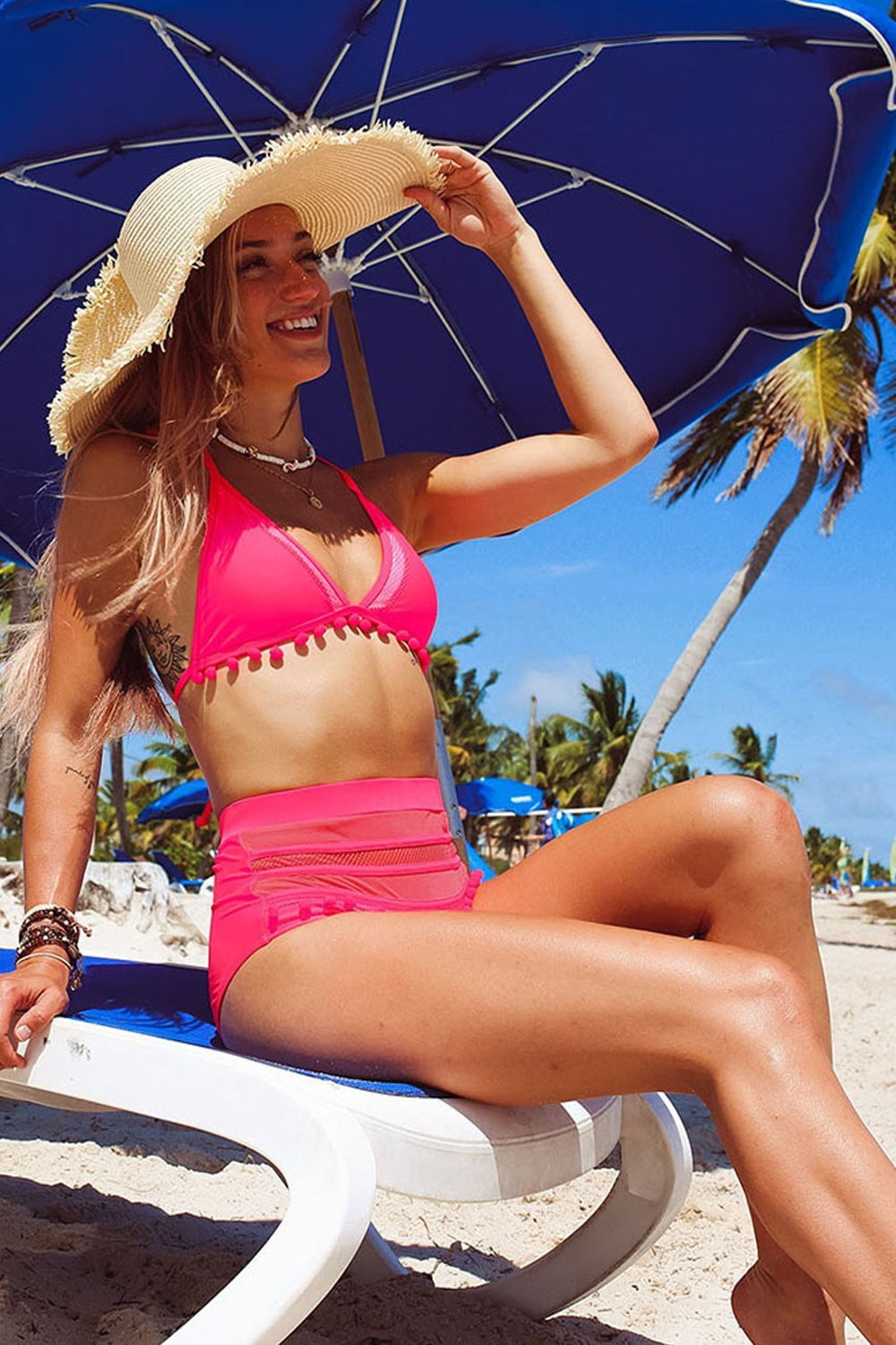 Hot Pink Pom Pom Triangle Halter Bikini Top (2279099596859)