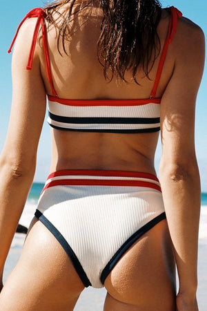 Red Black Striped Tie Shoulder Ribbed Bikini Top