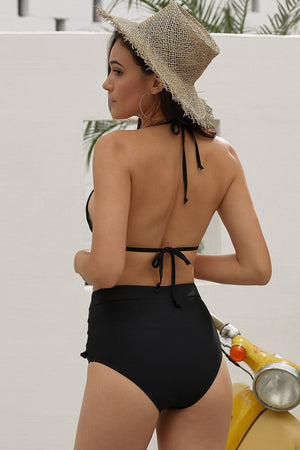 Black Pom Pom Mesh High Waisted Bikini Bottom (2276733648955)