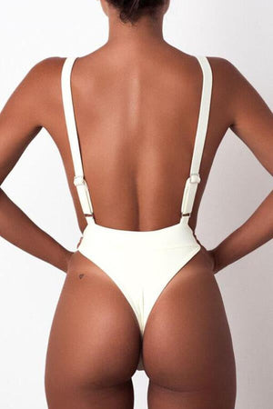 Floralkini Solid Color Open Back Monokini Swimsuit