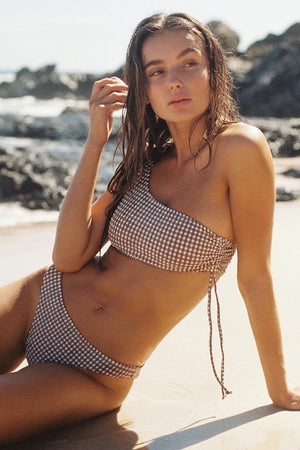Gingham Lace-Up Side One Shoulder Bikini Top (2302558109755)