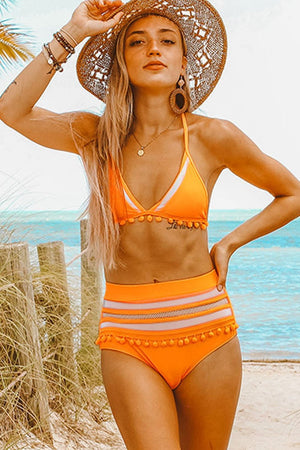 Orange Pom Pom Mesh High Waisted Bikini Bottom (2276733419579)