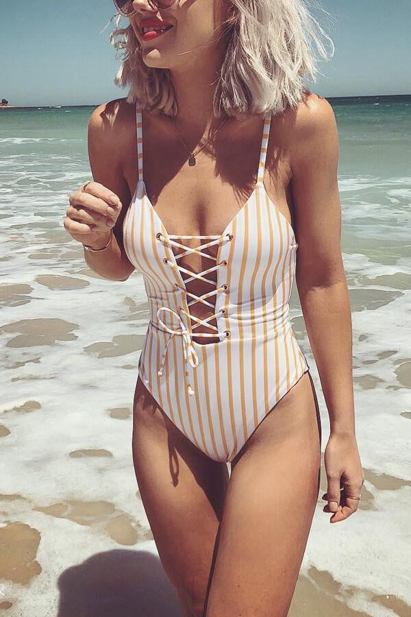 Floralkini Vertical Striped Criss Cross Lace Up One Piece Swimsuit