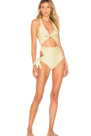 Polka Dots Tie Front Side Cut Out One Piece Swimsuit (2305535246395)