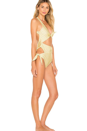 Polka Dots Tie Front Side Cut Out One Piece Swimsuit