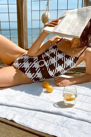 Black Gingham Belted One Piece Swimsuit