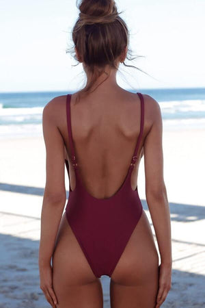 Floralkini Square Neck Backless One Piece Monokini