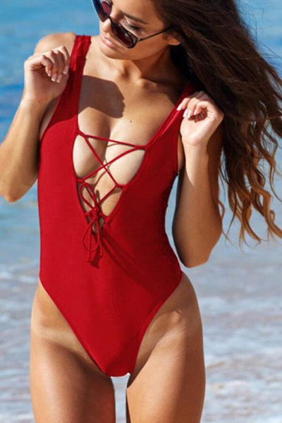 Floralkini Solid Color Lace Up Neck One Piece Swimsuit